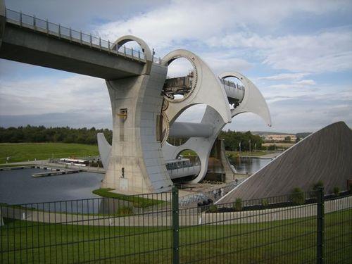 The Falkirk wheel swings